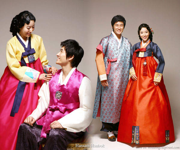Korean Wedding S In Traditional Costumes Called The Hanbok