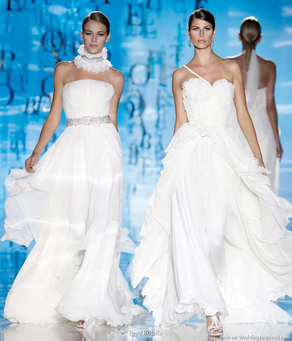 On the runway - white wedding gowns from Pepe Botella Novias
