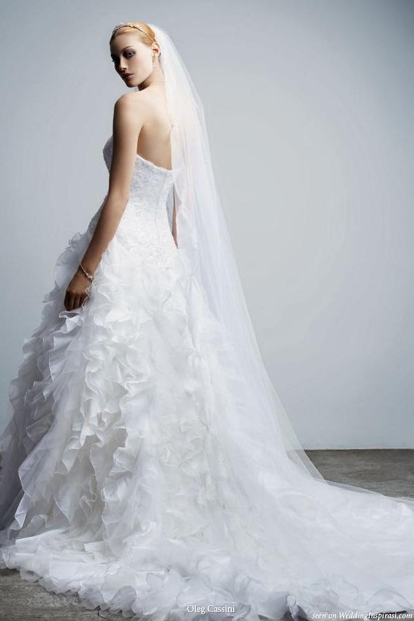 Ruffle wedding dress by Oleg Cassini