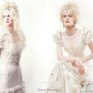 Wedding gowns with puffy sleeves from Sharon Bowen Couture English Romantics bridal collection