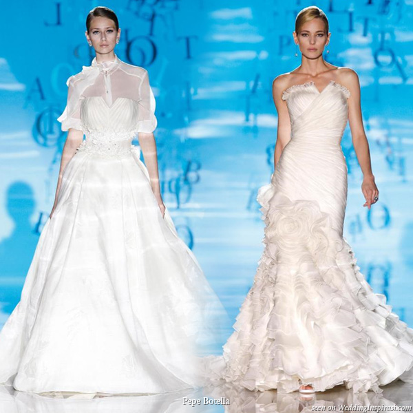 Model brides on the runway displaying two wedding dresses from Gaudi Fashion Show by Pepe Botella Novias