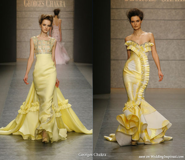 Two yellow gowns an elegant long sheath dress with a train and a slinky