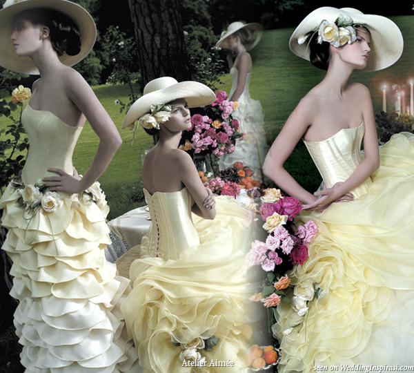Yellow wedding dresses with hats from Atelier Aimee
