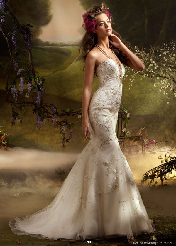 Lazaro 2010 bridal gown collection ivory hand beaded and embroidered