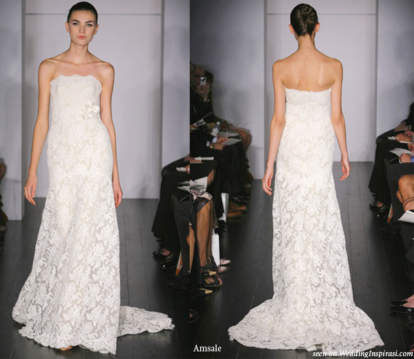 Amsale blue label bridal collection wedding inspirasi emerson strapless gown modified a line french lace bodice and alencon lace skirt junglespirit Choice Image