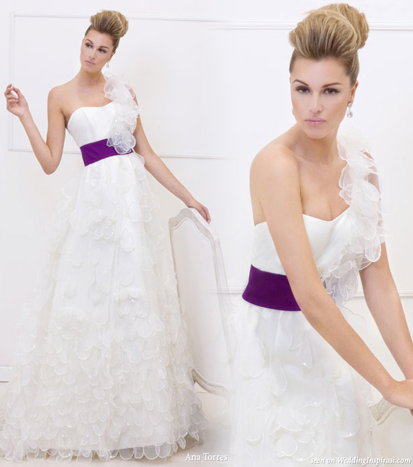 One shoulder strap wedding dress with ruffle and purple sash from Ana Torres 2010 bridal gown collection