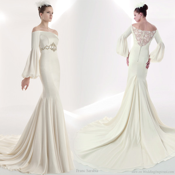 Off shoulder wedding dress with romantic style bishop sleeves from Franc Sarabia