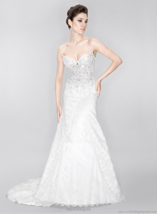 Strapless Wedding Gown Embellished With Swarovski Crystals Jewels By Julia Kontogruni