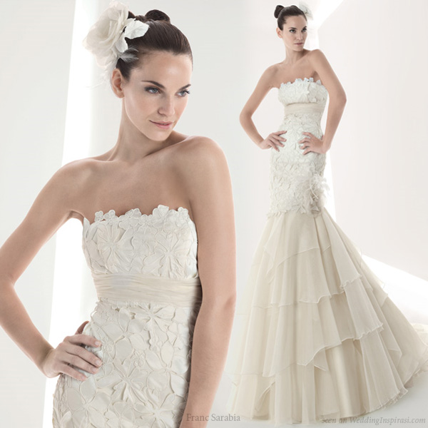 Beautiful strapless wedding gown from Franc Sarabia