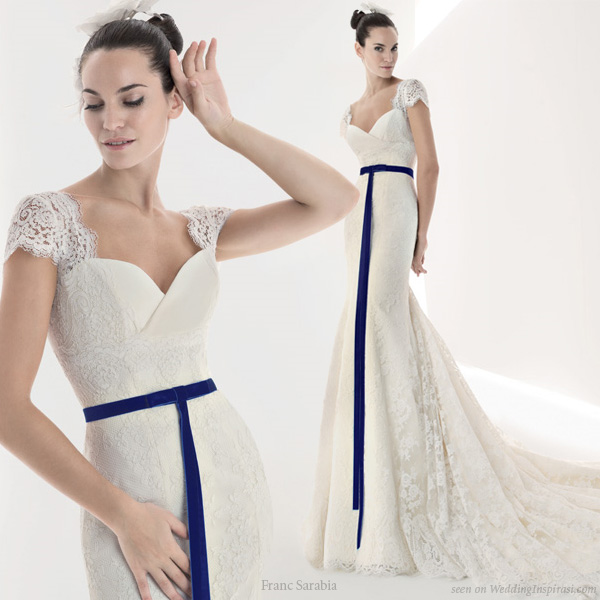 Franc Sarabia - Cap sleeve lace wedding dress with colored sash detail