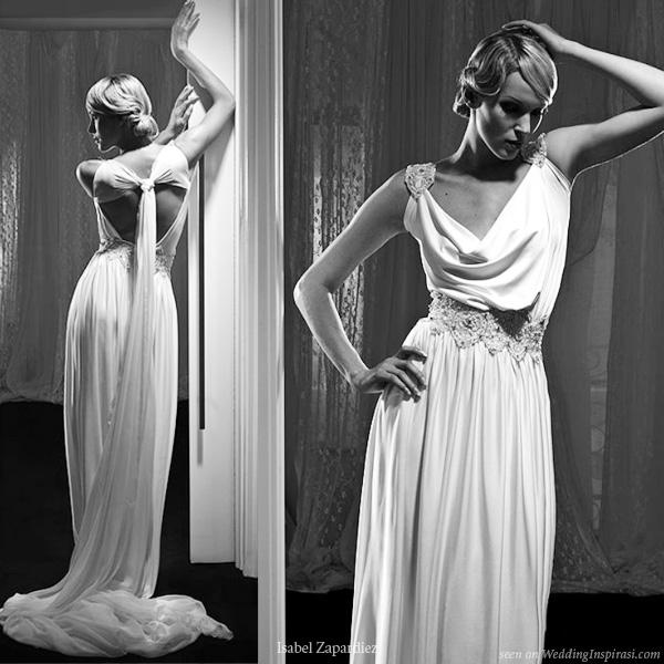 Terasa 39 s blog asymmetrical neckline toga inspired grecian for Greek goddess wedding dresses