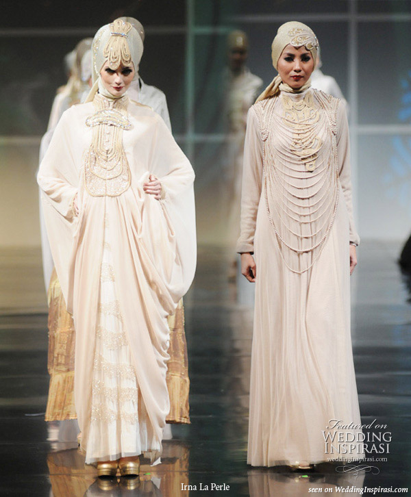 Wedding dresses and evening gowns on the runway by Irna La Perle, suitable for modest brides and hijab wearing sisters