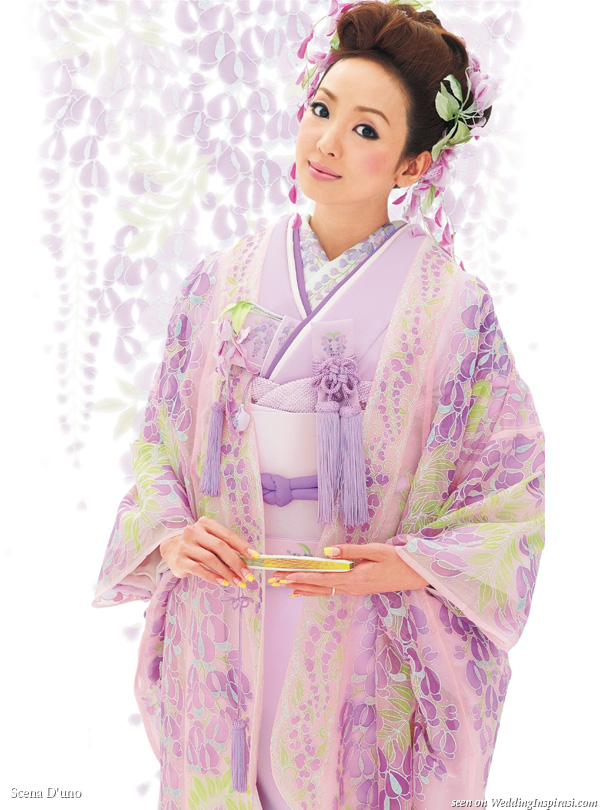 Purple, lavender with green detail Japanese Kimono