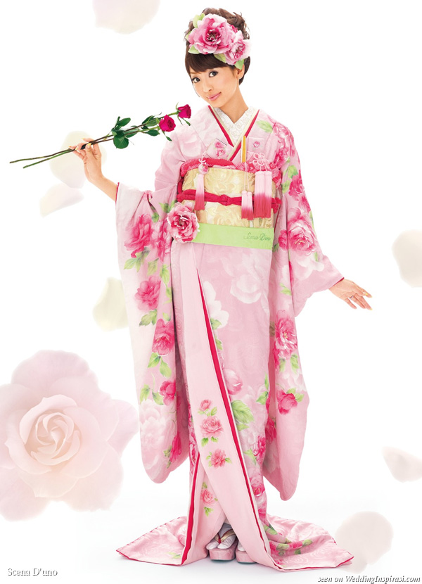 Pink, red rose flower blossom Japanese wedding kimono