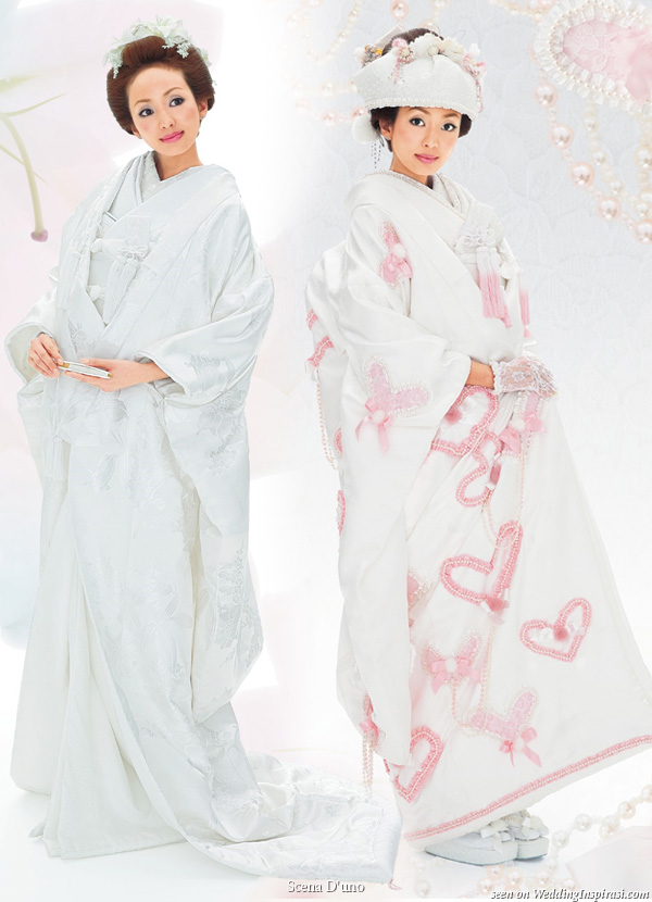 Japanese white wedding kimono with ceremonial over coat with long train uchikake