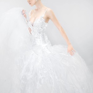 Beautiful wedding gown decorated with Swarovski crystals by Julia Kontogruni