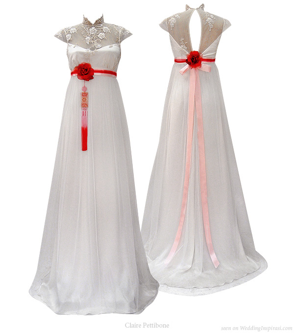 Mandarin Collar Wedding Dress Chinese Inspired Gown With Red Korean