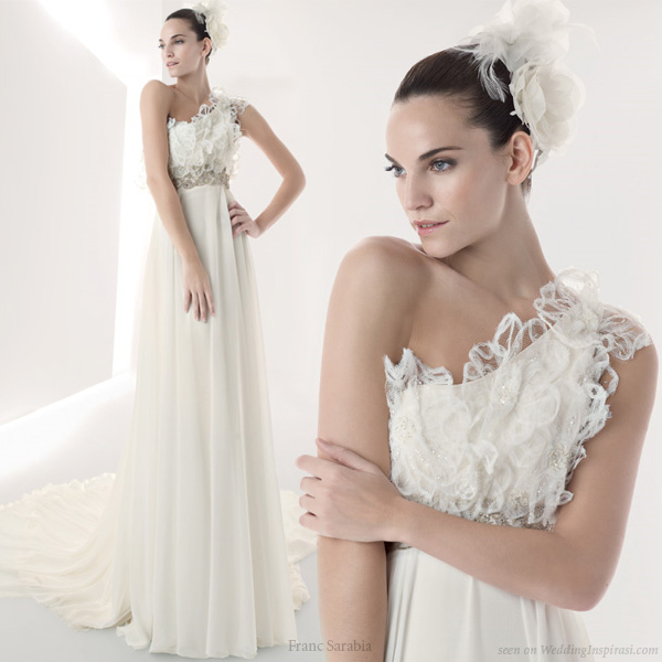 Greek Goddess - One shoulder grecian style wedding gown from Franc Sarabia