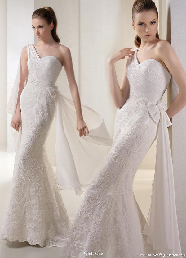 White One Shoulder Wedding Dresses