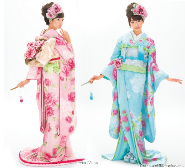Lovely kawaii pink and light blue Japanese kimono