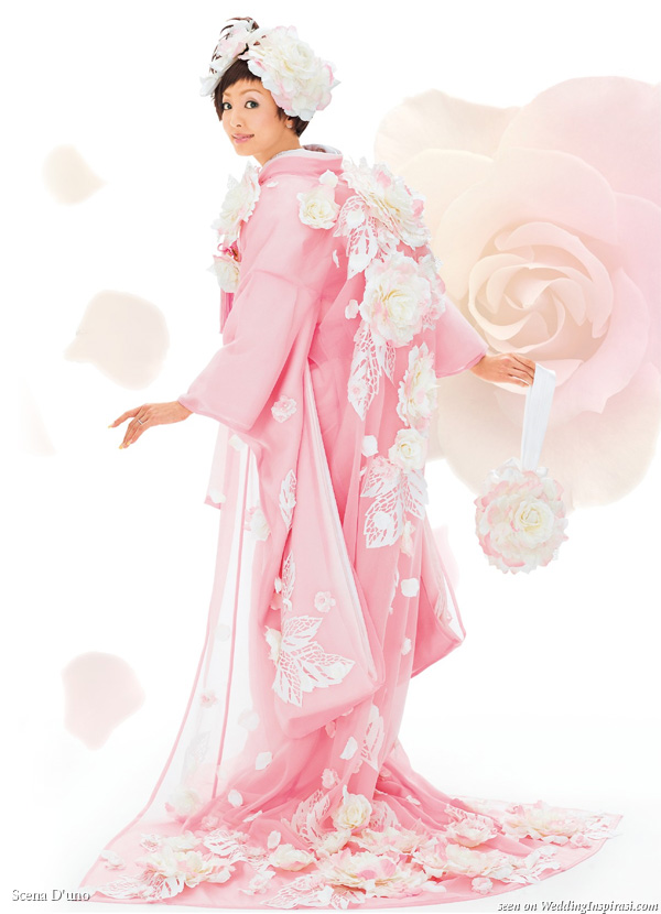 Beautiful pink 3D flower japanese kimono with train