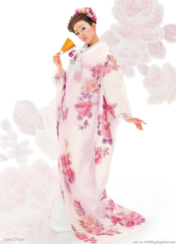 Beautiful pink lavender purple painted flower Japanese wedding kimono