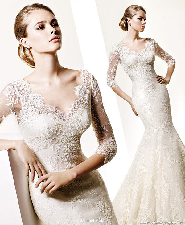 Opera lace wedding gown by designer Manuel Mota for Pronovias