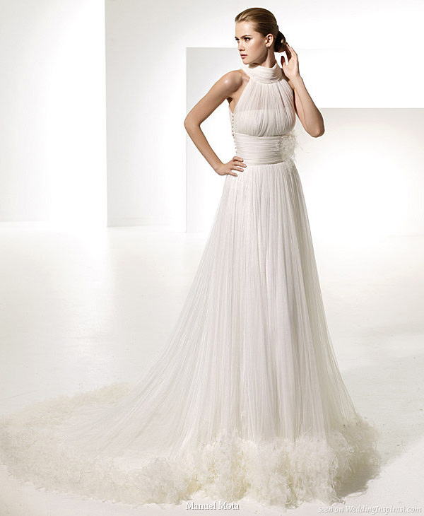 Gorgeous halter neck gown Teresa by designer Manuel Mota for Spanish bridal house Pronovias
