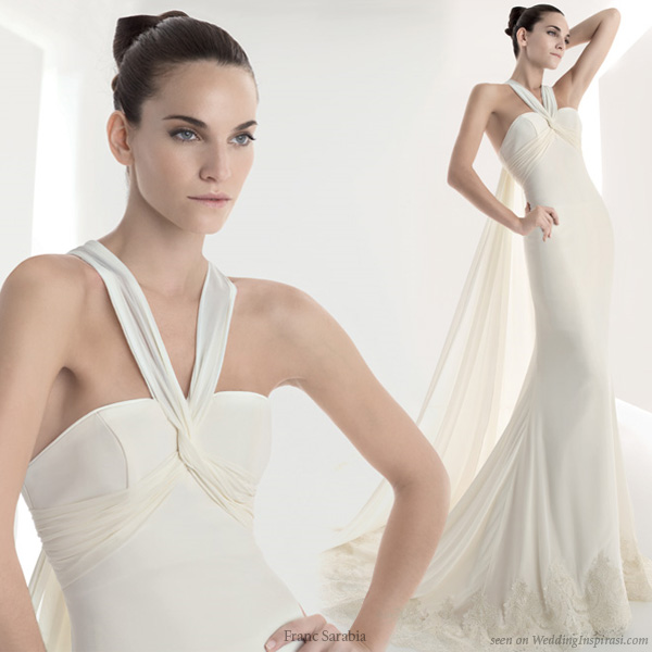 Simple halter tie neck wedding dress from Franc Sarabia