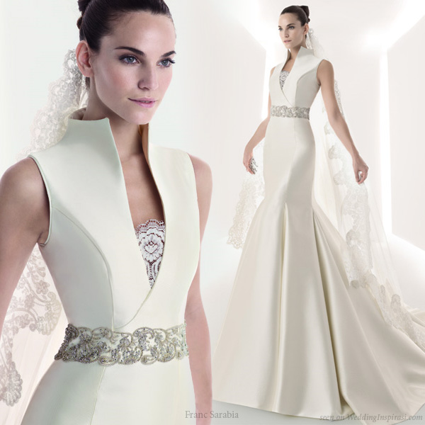 Structured wedding dress with collar from Franc Sarabia