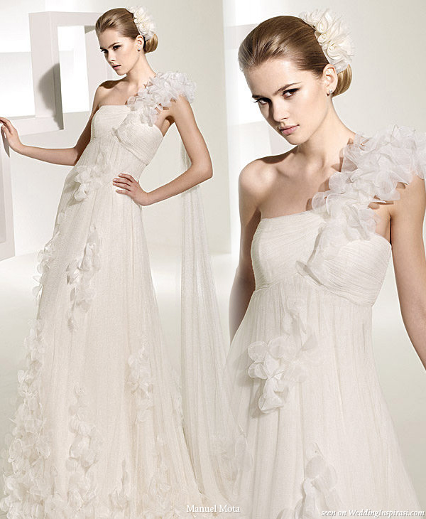 Tirso 3d flower one shoulder wedding dress