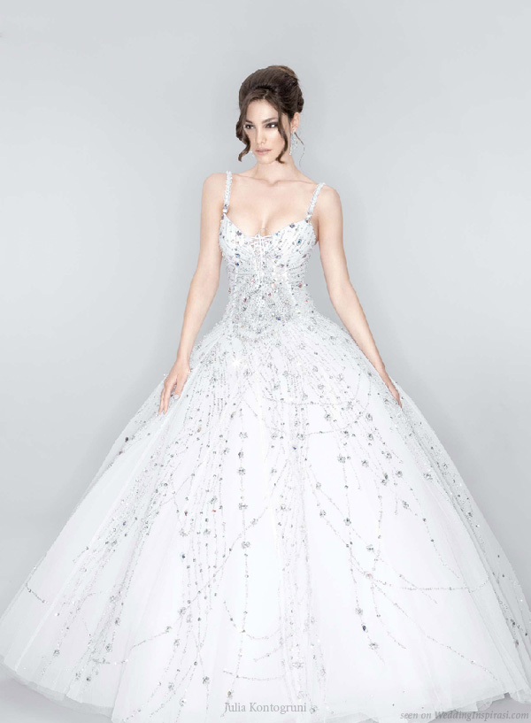 Beautiful wedding dress decorated with Swarovski crystals by Julia Kontogruni