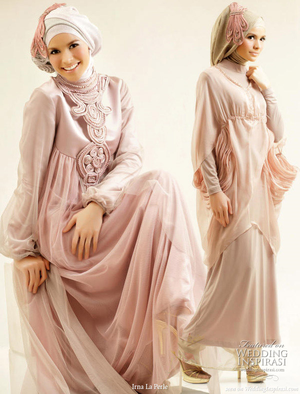 Modest wedding gowns and muslimah evening dresses from Indonesia fashion  house Irna La Perle