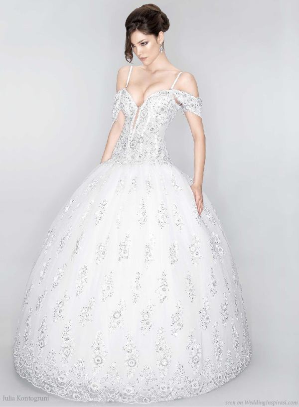 Luxurious ball gown style wedding dress decorated with Swarovski crystals by Julia Kontogruni