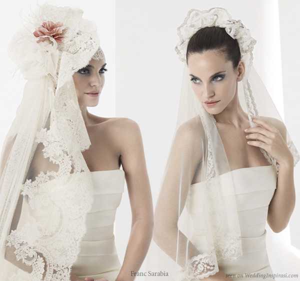 Selection of lace and tulle wedding veils from Barcelona bridal house Franc Sarabia
