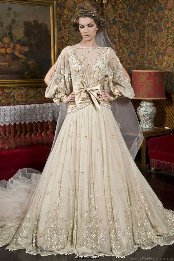 Abed Mahfouz loose long sleeve wedding dress