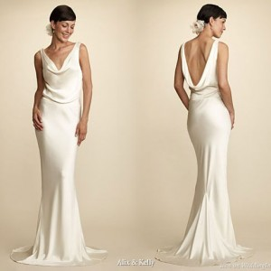 Alix and Kelly cowl neck low back sexy silk 100% hand-washed silk wedding dress