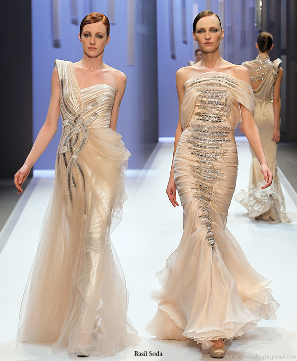 Runway bridal gown inspiration - Airy peach fabric and metallic sequin adorment on haute couture dress from Basil Soda Spring/Summer 2010 collection