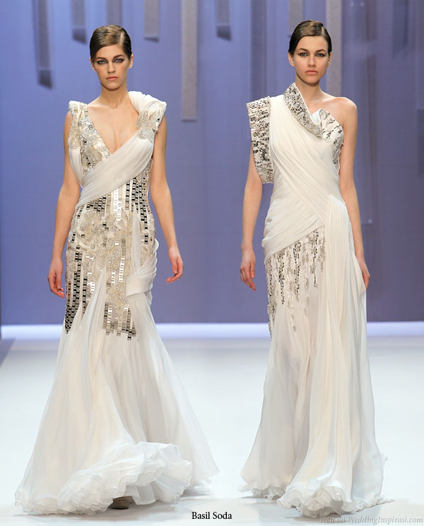 Metallic trimming, hot white style - couture wedding gown inspiration runway show 2010