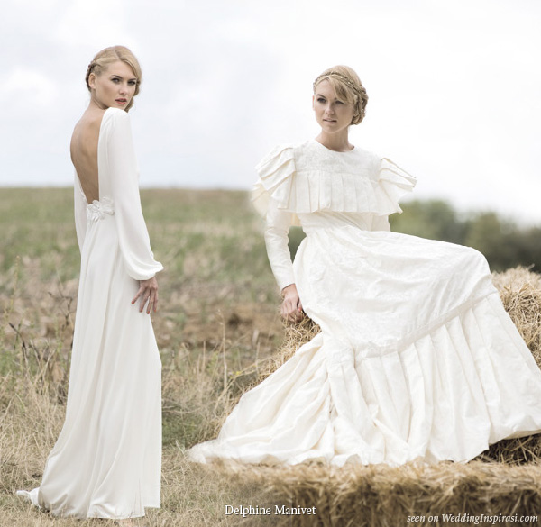 Delphine Manivet wedding dresses Come long retro silk jacquard dress and