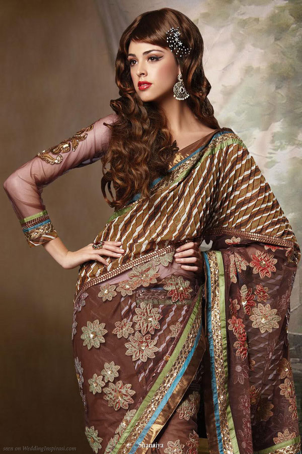 Saree soiree - long sleeve choli blouse floral brown sari from Shanaiya UK