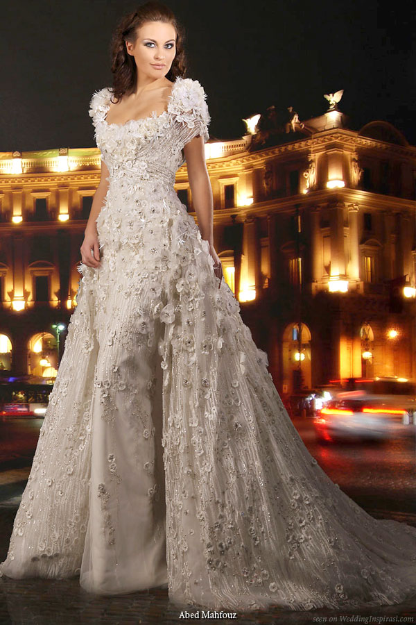 Wedding dress that looks heavily embellished with crystals, sequins, beading and embroidery from Abed Mahfouz