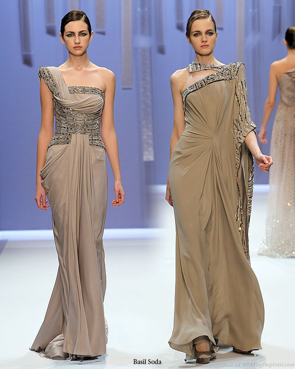 Monochrome dream - draped one-shoulder grecian gown and asymmetric kaftan-like dress in taupe and other earthy tones