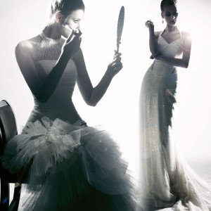 Glamourous black and white wedding dress photo shoot by Han Dressia