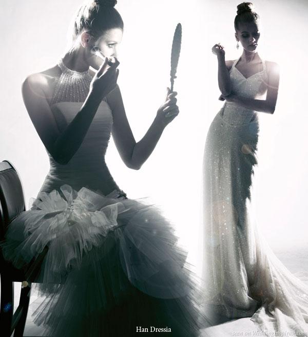 Glamourous black and white wedding dress photo shoot by Han Dressia