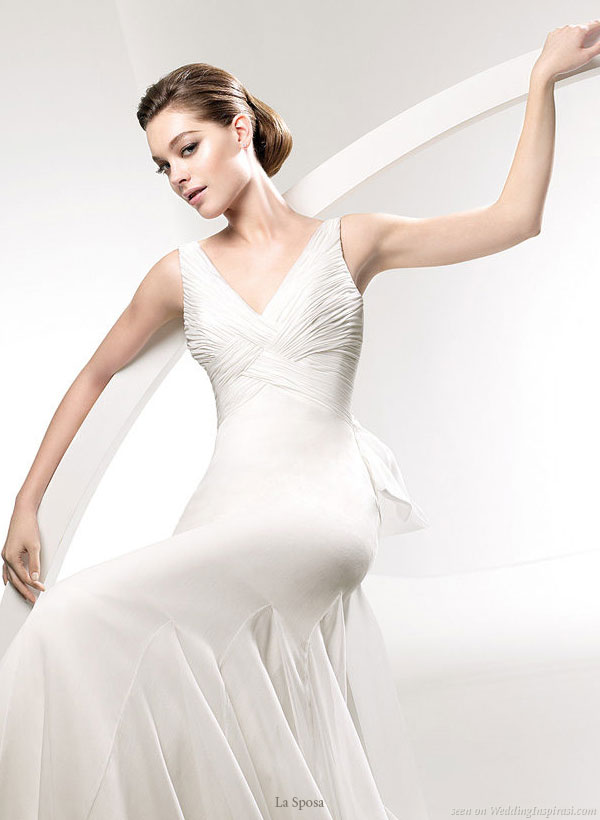 La Sposa 2010 bridal gown collection - Zoom in detail showing godet on the skirt of a wedding dress named Laud