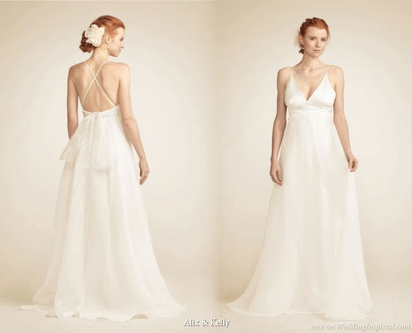 Juliette multiple layers of 100% silk bridal gown - criss-cross spaghetti straps, low back, fitted waist and fluid a-line skirt with organza bow tie