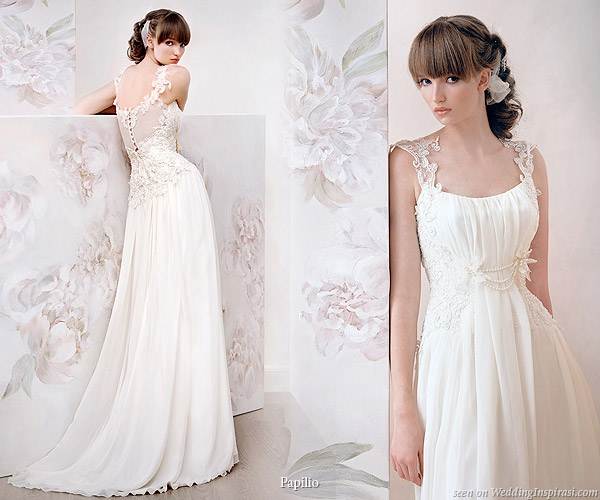 Low back lace strap weddind dress from Papilio Russian bridal house