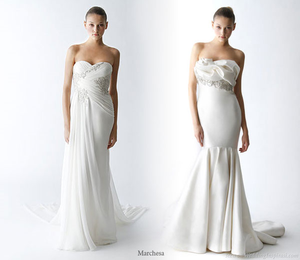 Sweetheart neckline strapless Marchesa wedding gowns from the Spring 2010 collection