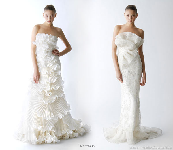 Very signature Marchesa ruffle wedding dresses from the Spring 2010 bridal collection